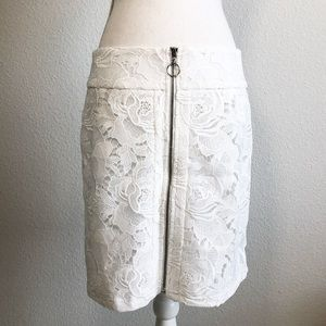 NEW! INC lace white mid rise skirt